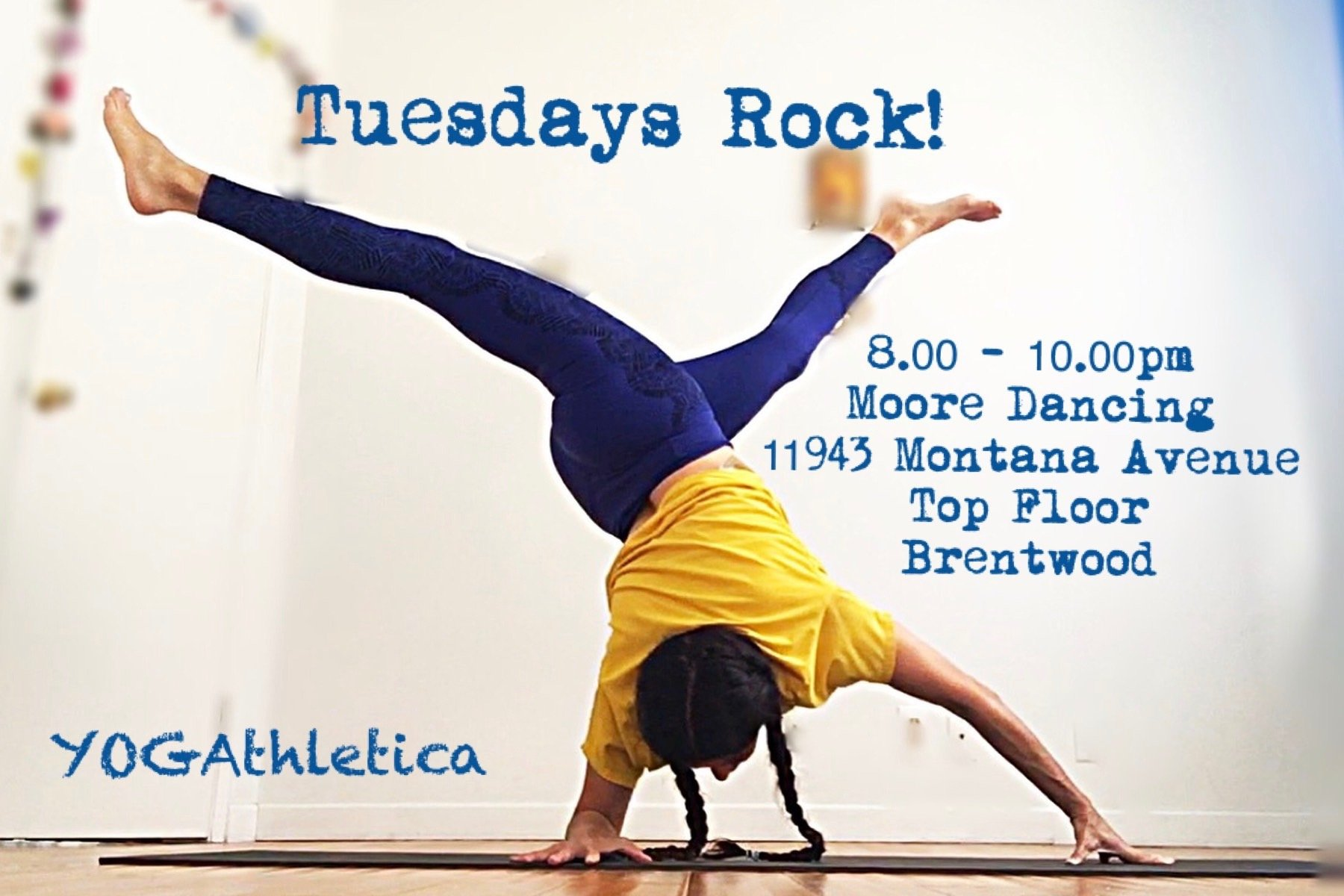 yogathletica tuesday nights at 8pm at moore dancing in brentwood