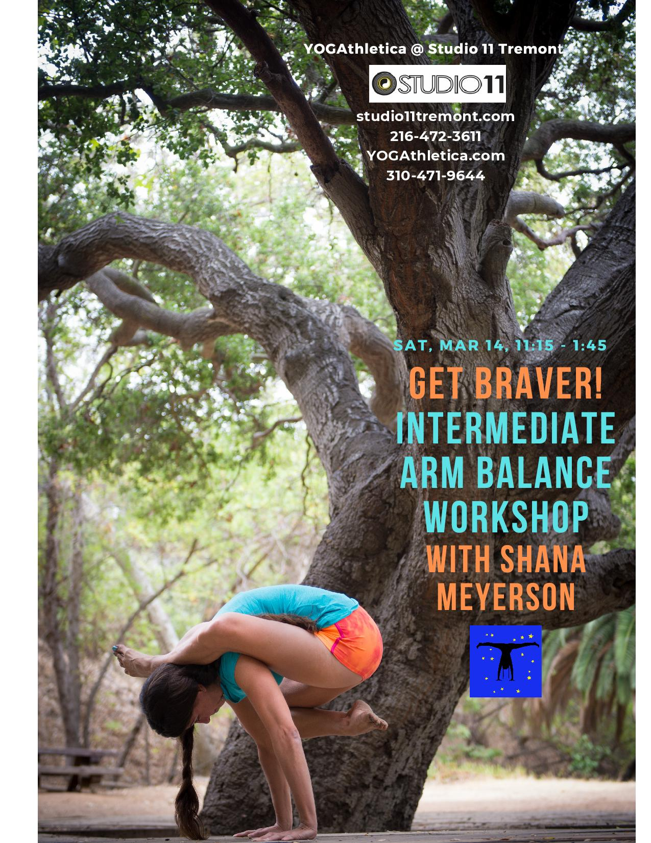 yogathletica intermediate arm balance workshop with shana meyerson at studio 11 tremont